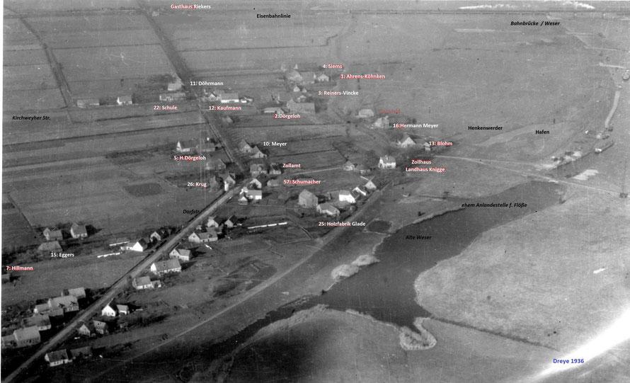 Dreyer Luftbild 1936 mit Eintragung einiger Hausstellen