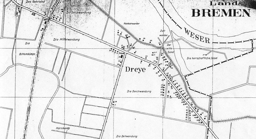 Plan Dreye (sc. 1955) mit eingetragenen Hausnummern  47