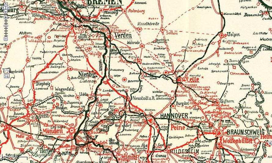 Verkehrskarte des bremischen Binnenhandels in der Zeit des großen Frachtfuhrwerks [Ausschnitt]31