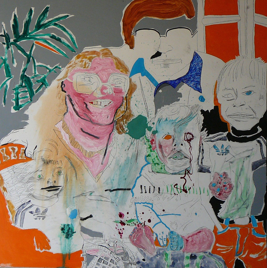 Family portrait 120 x 120 cm mixed-media on board