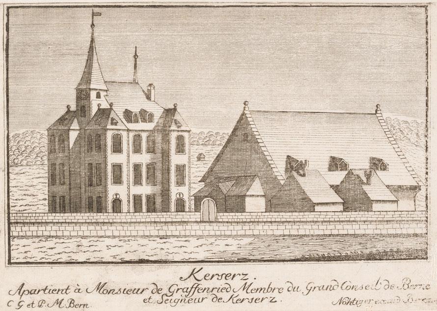 Schloss Kehrsatz, Stich von Johann Ludwig Nöthiger (um 1743)