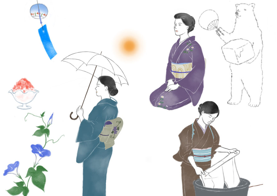 ilustration of woman wearing kimonos