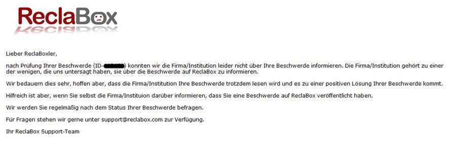 Vodafone gehört zu den wenigen Firmen die ReclaBox untersagt über die Beschwerde zu informieren!
