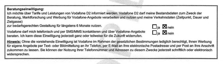 Datenschutz nimmt Vodafone offensichtlich nicht besonders ernst !!!