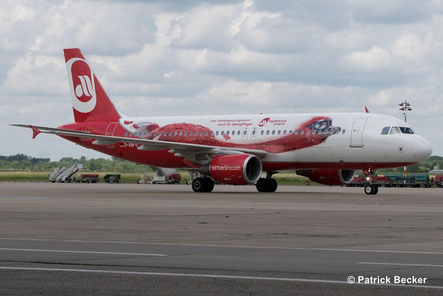 """Unser Flugzeug: D-ABFO, Airbus A320 der airberlin mit """"Milo TopBonus Maskottchen"""" Lackierung"""