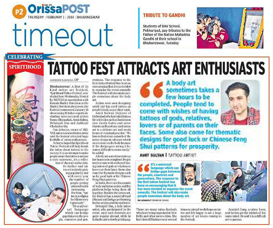 Tattoo article, interview, amin sultan, hyderabad, newspaper, Orissa Post, 2nd feb 2018, bhubaneshwar