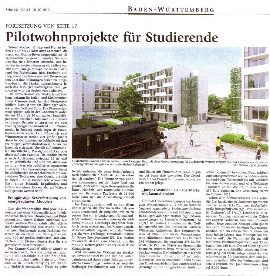 Immobilien Zeitung / 31.10.2013