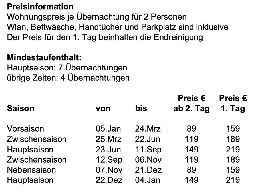 Preisinformation FeWo Stella