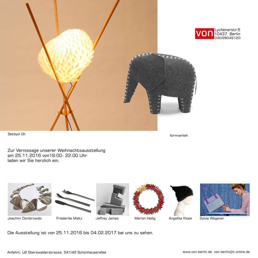 Setbyol Oh, Lichtobjekte; Jeffrey James, cast concrete; formverleih, Filztiere; Ankelika Klose, Hüte; Silvia Wegener Pik Dame; Taschen;