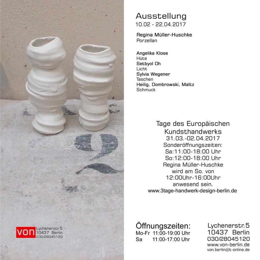 Ausstellung Regine Müller-Huschke Porzellan, Setbyol Oh Lampen, Pik Dame Taschen