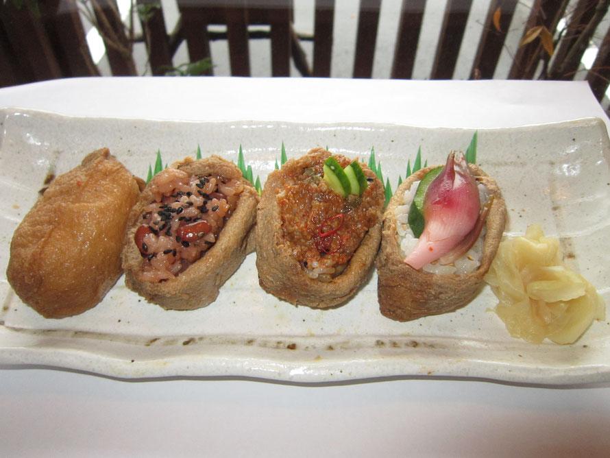笠間の食べ比べセット みようが・肉辛みそ・そば・おこわ・昔ながらのいなり寿司