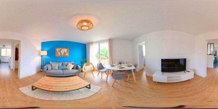 Exemple d'une image360 degré d'un salon d'appartement. Photographe sur Montpellier Jean Philippe Tremoulet Breton.