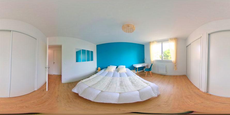 Exemple d'une image 360° d'une chambre d'appartement. Photographe sur Montpellier Jean Philippe Tremoulet Breton.
