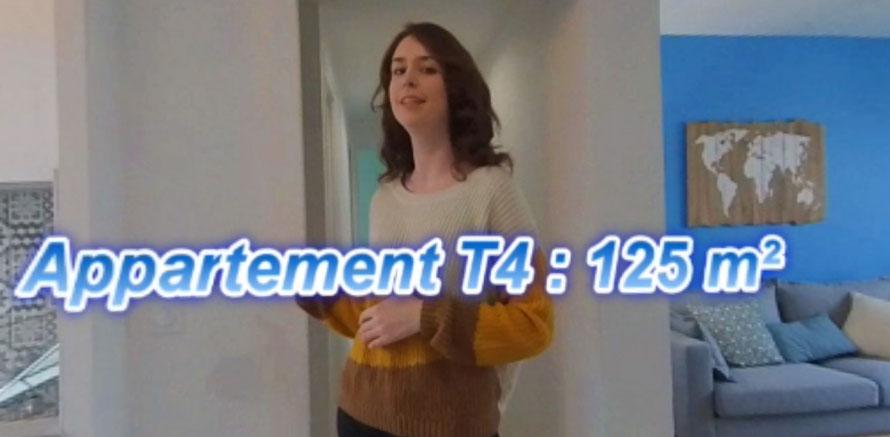 Visite appartement en virtuelle vidéo 360 degrés avec incrustations de textes d'informations.