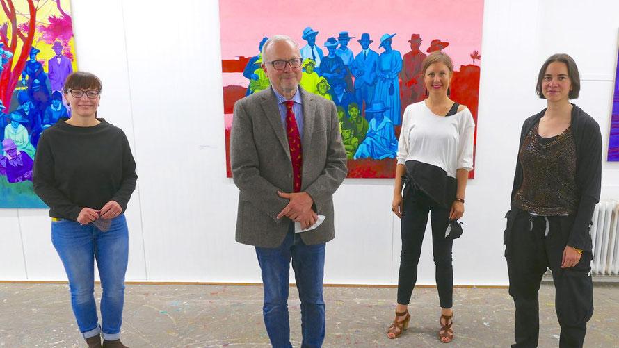 Romy Rölicke, Edwin Zaft, Dr. Franziska Storch und Chantal Maquet freuten sich über viele Besucher zur Eröffnung der Ausstellung (v.I)
