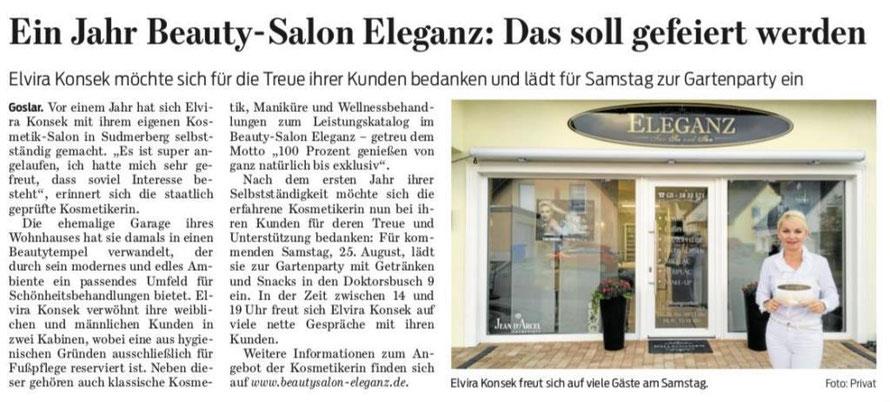 Die Goslarsche Zeitung berichtete über das einjährige Jubiläum des Beauty-Salon Eleganz.
