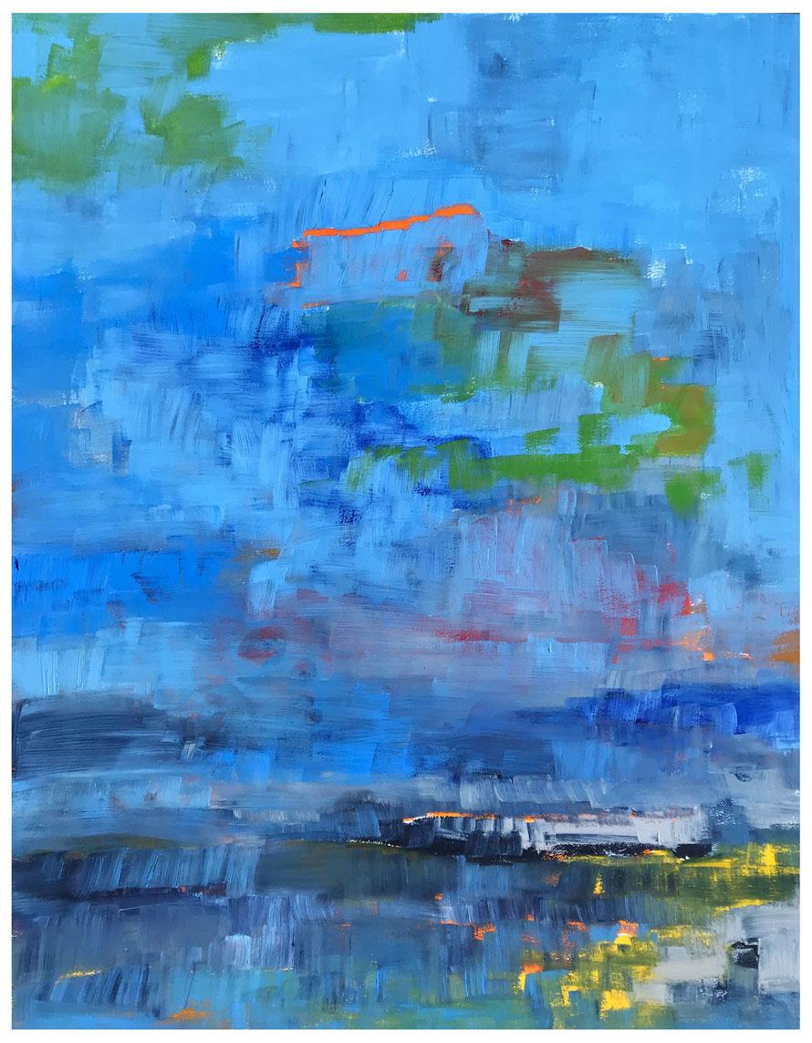 Blue Fontane Bianche Syrakus, 2018, Harz-Ölfarbe, 64x50cm, Copyright by Martin Uebele