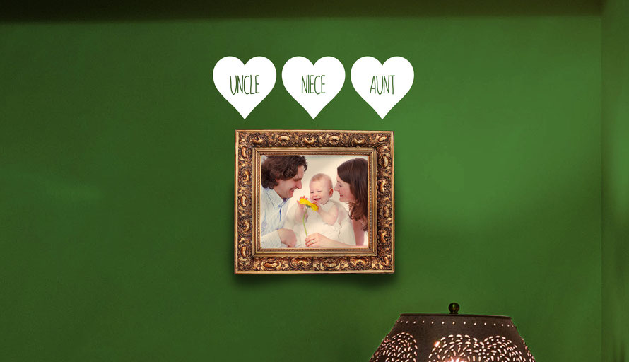 Uncle, Niece and Aunt love heart family vinyl wall art decals, idea for adding embellishment labels for photographs. They come in many colours and a mix match of sizes and family names. From wallartcompany.co.uk