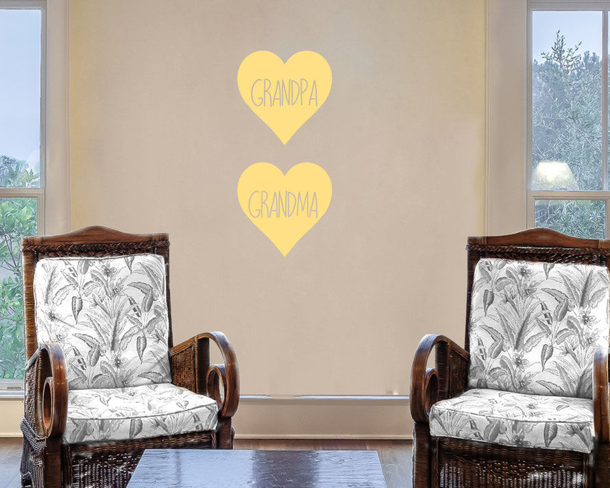 Grandpa and Grandma love heart family vinyl wall art decals. They come in many colours and a mix match of sizes and family names. From wallartcompany.co.uk