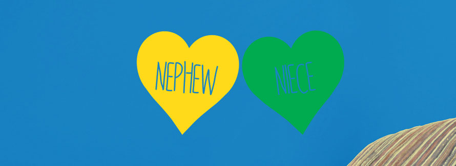 Niece and Nephew love heart family vinyl wall art decals. They come in many colours and a mix match of sizes and family names. From wallartcompany.co.uk