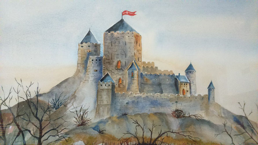 Un cadeau de notre mécène aquarelliste, une reconstitution du château.