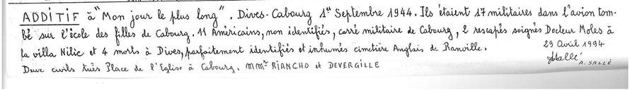 André Sallé a ajouté ces notes à un article paru dans la presse locale à l'occasion du 50ème anniversaire de la Libération