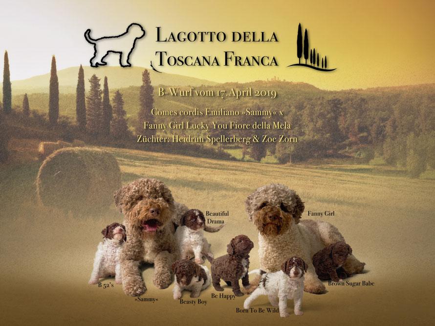 Familienphoto Comes cordis Emiliano »Sammy«  x  Fanny Girl Lucky You Fiore della Mela aus der Zuchtstätte Della Toscana Franca