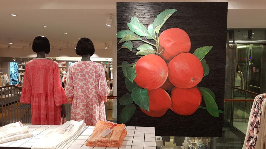 """""""Äpfel"""", Relief, Farbe, 120 cm x 150 cm, Josef Briechle 2019 © Kunstwirtschaftler"""