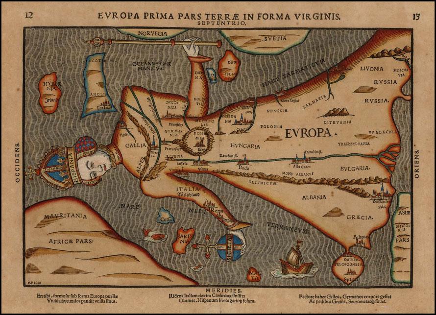 Europa Regina in Heinrich Büntings Itinerarium Sacrae Scripturae (1582) - CC0 - gemeinfrei