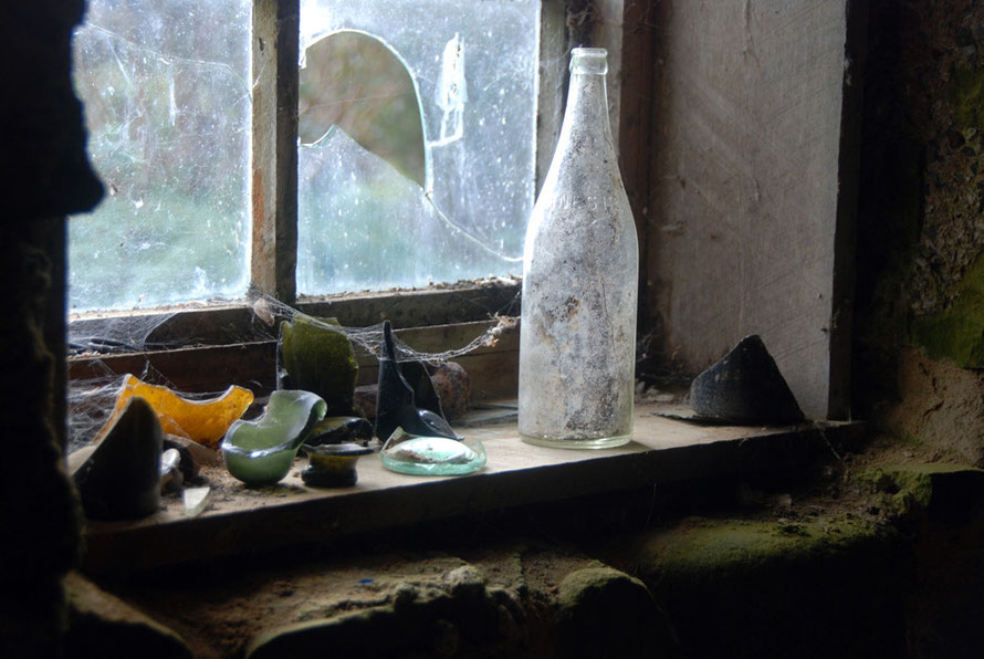 Poetic detritus peopling the window sill of Lewis Ackers' and his wife, Meri Pi's house on Stewart Island.