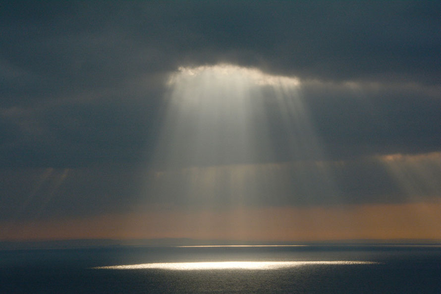Rent asunder: the almost indecent light of the sun breaking through the clouds over the Dover Strait in January, 2015.