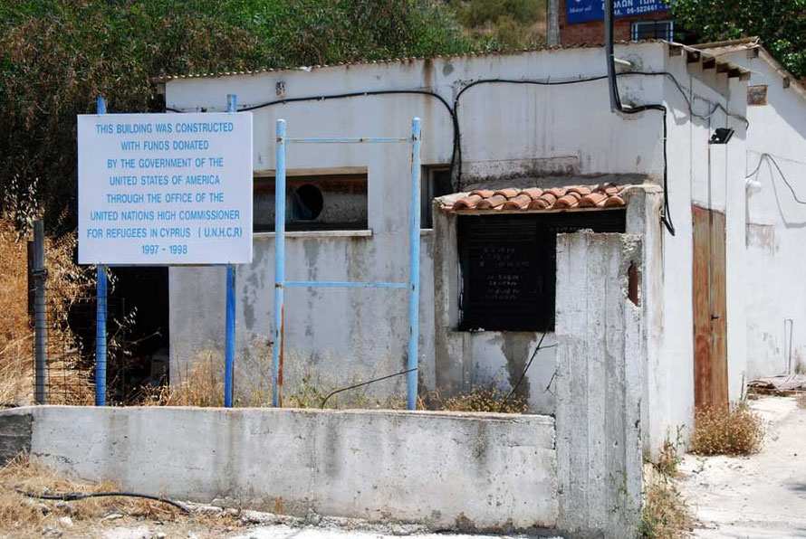 Abandoned buildings funded by US Aid outside Kato Pyrgos