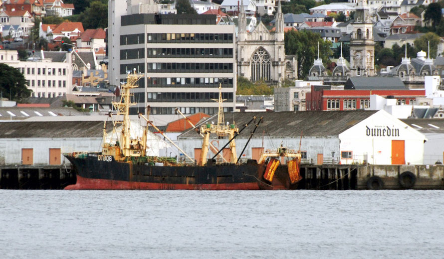 The Melilla No.203, registered in Korea and chartered to United Fisheries tied up at the Dunedin wharfside. Its 27-man crew alleged short payment, poor conditions and abuse in 2011. Salve Free Seas in