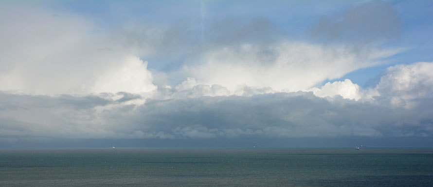 Snow clouds over the Strait.