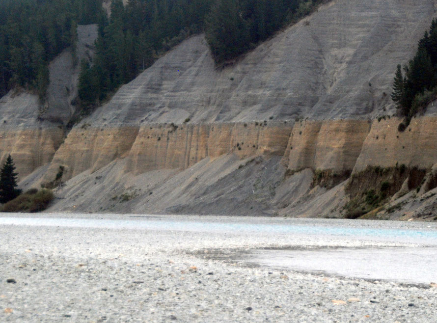 The spectacular bluffs of the Rakaia River