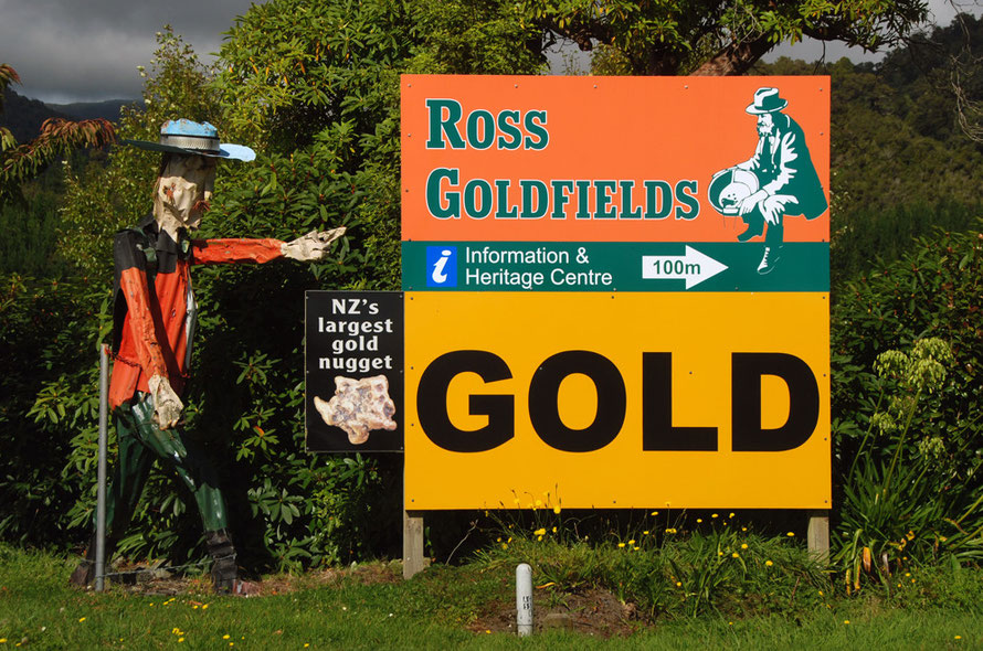 Ross (pop. 291) in Westland. The strangest corrugated-iron man I have ever seen