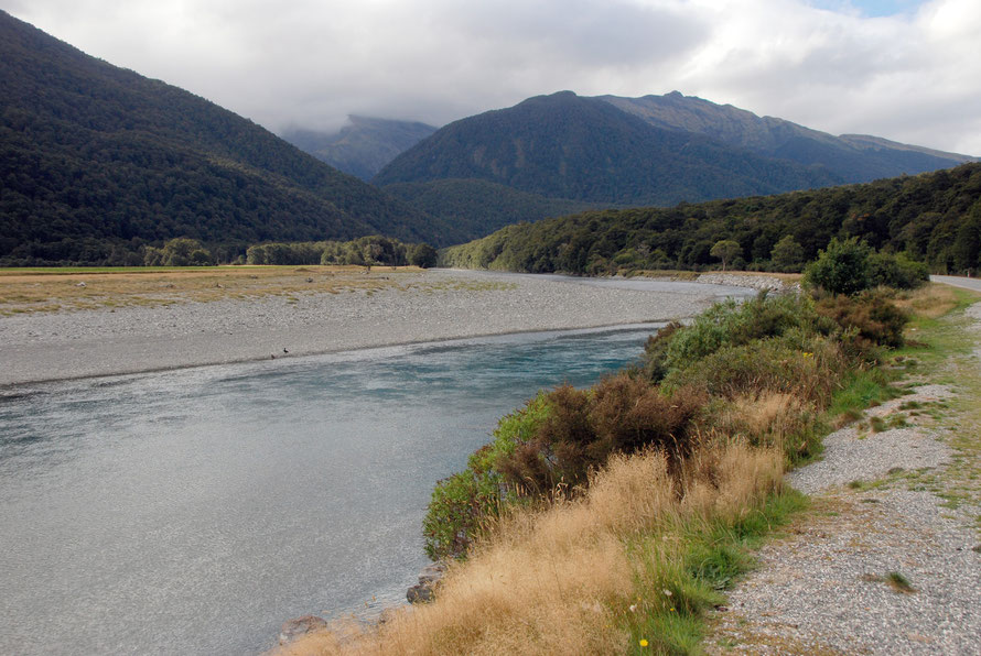 The road to the Haast Pass running alongside the Makarora River, one of the headwaters of the Clutha/Mata-Au.