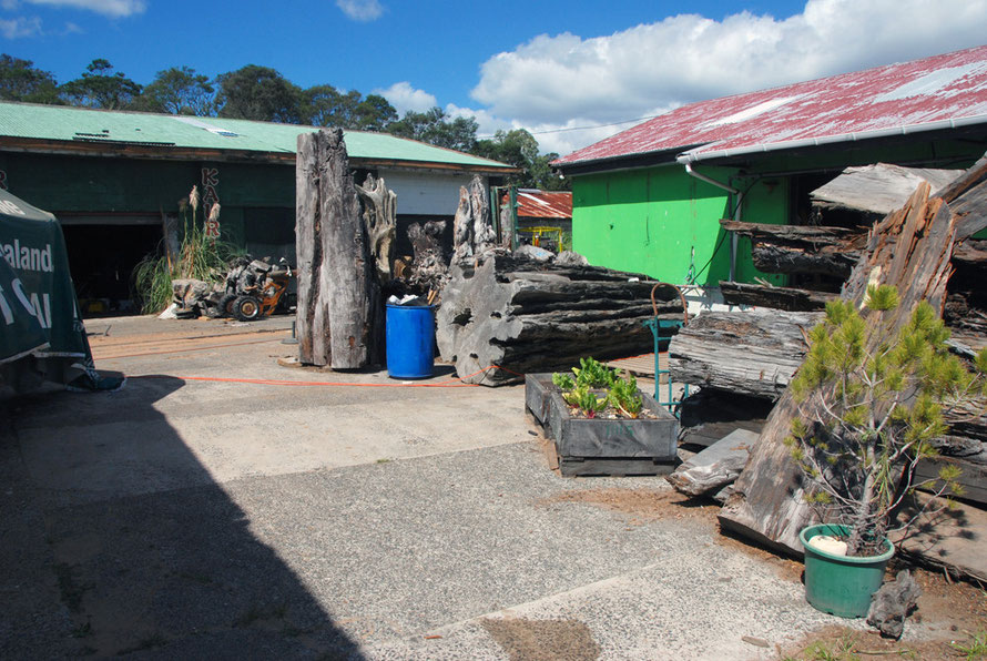 The yard of the Art Workshop at Te Hana north of Wellsford on SH1.