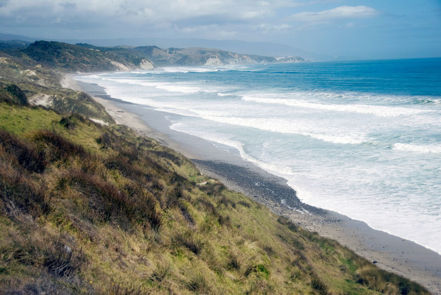 Looking south from the Cowin Road beyond the Otuhie River towards the distant Kahurangi Point and a 40km stretch of coast with no habitation, roads, or anything.