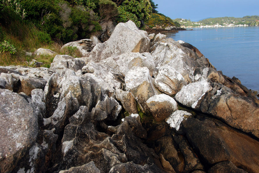 Sculpted grainte rocks at Fishereman Point, Stewart Island.