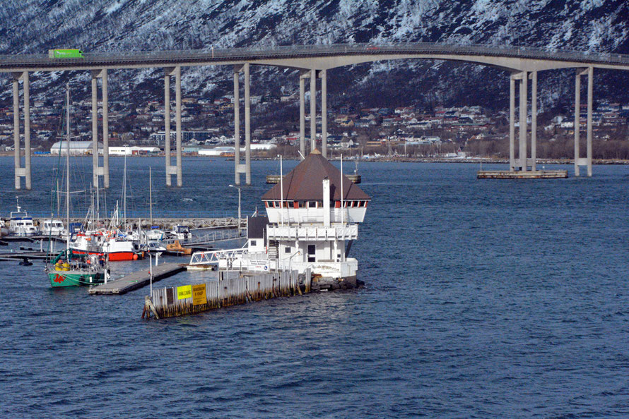 One of the bridges connecting Tromsøy island with the mainland. The road infrastructure in Arctic Norway is very good with many tunnels and ferries connecting the many islands.