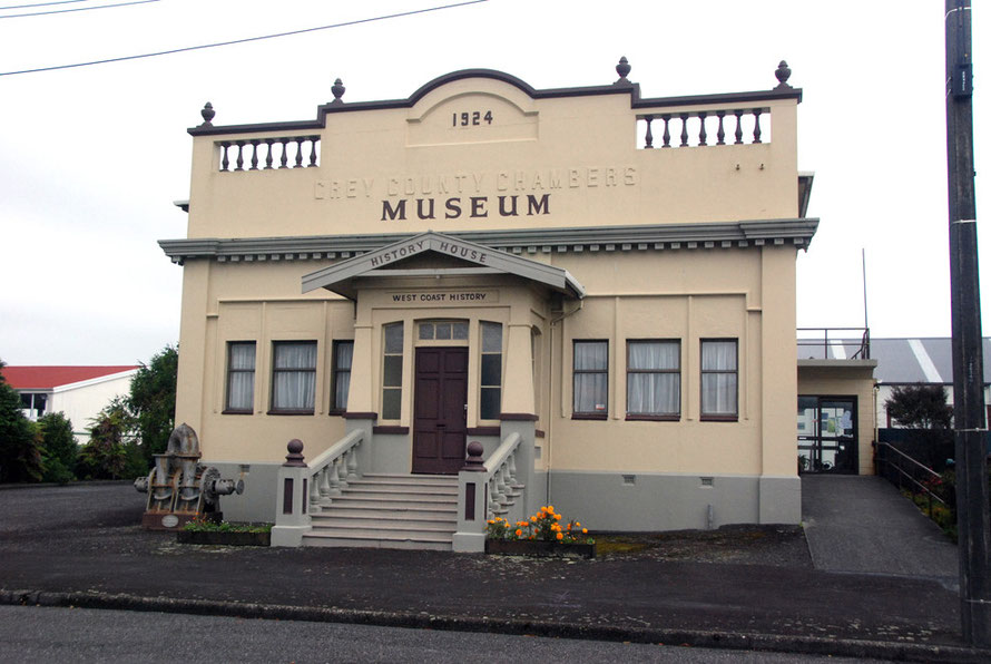 The 1924 Grey County Chambers in the port area of Greymouth, now a museum
