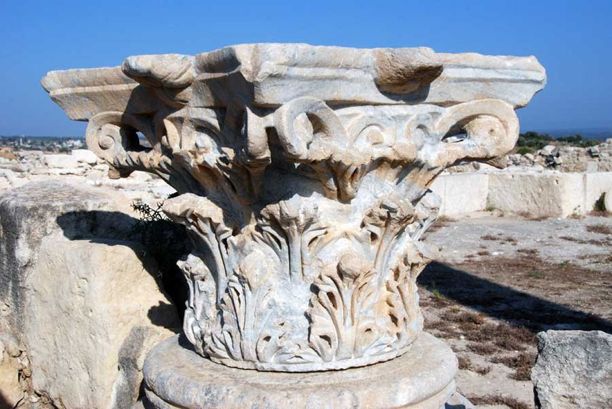 Magnificently intricate hand-carved Roman pillar capital, Kourion