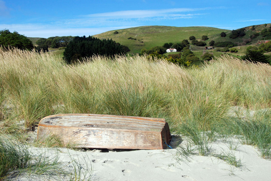 Te Rauone Beach by Te Umukuri (Wellers Rock) site of the Weller Brothers'  shore whaling station on the Otago Peninsula