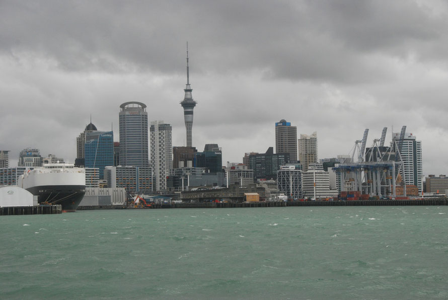 The Auckalnd downtown skyline under the heavy skies left after Cyclone Lusi's passage.