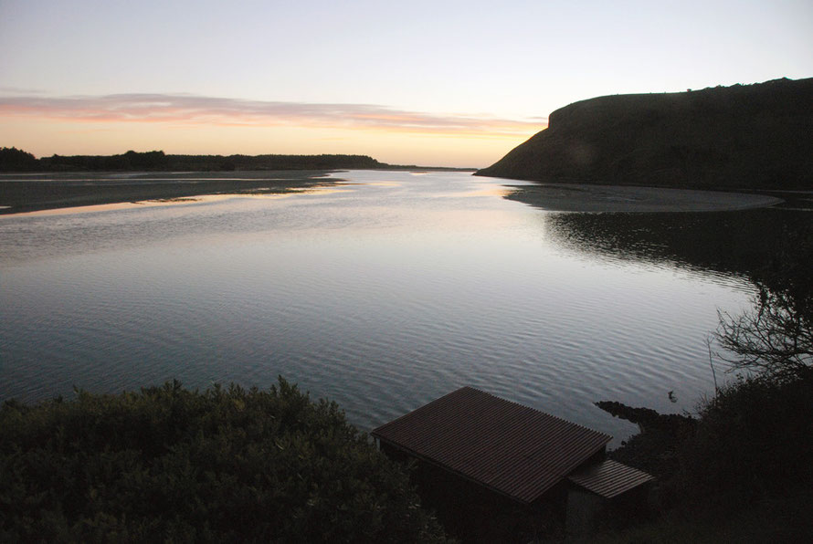 Papanui inlet from Betty's Bach looking towards the Pacific Ocean as night falls
