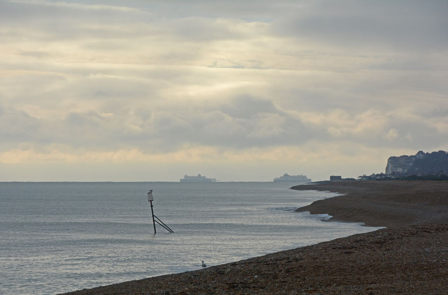 Dover Ferries from Deal Strand, 31st Janaury, 2015.