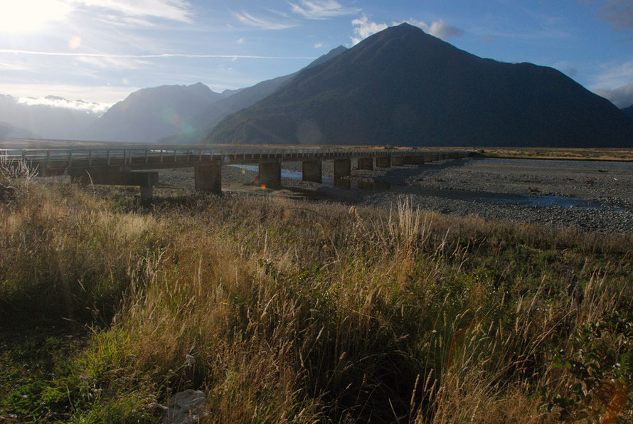 The long bridge across the Waimakariri River near Klondyke Corner in the Authur's Pass National Park