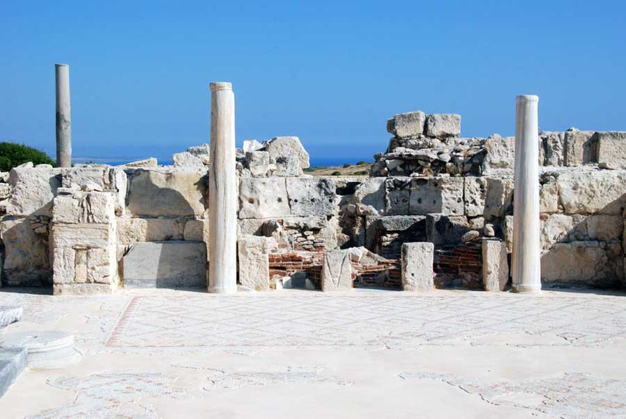 Remains of the 5th century basilica which recycled Roman materials, Kourion