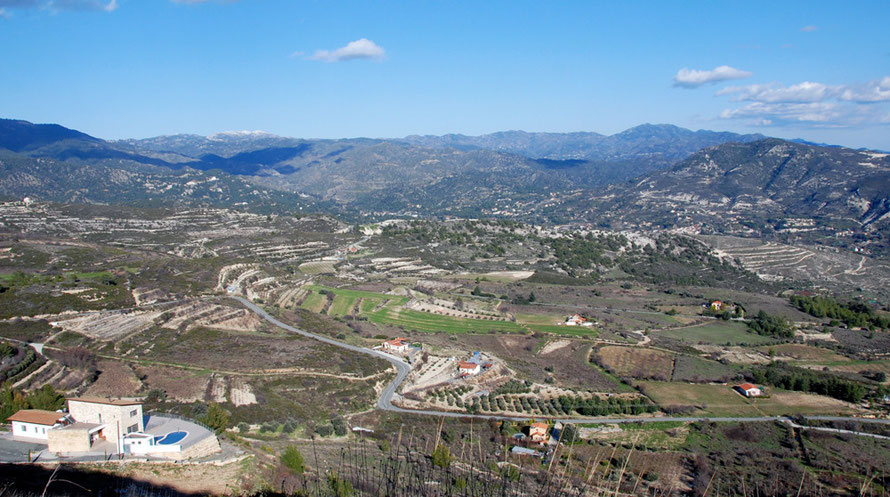 Looking east from above Lofou to Doros Monagri and the Commandaria villages, January 2013.
